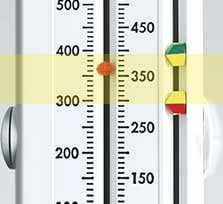 Yellow zone for Philips PersonalBest peak flow meter