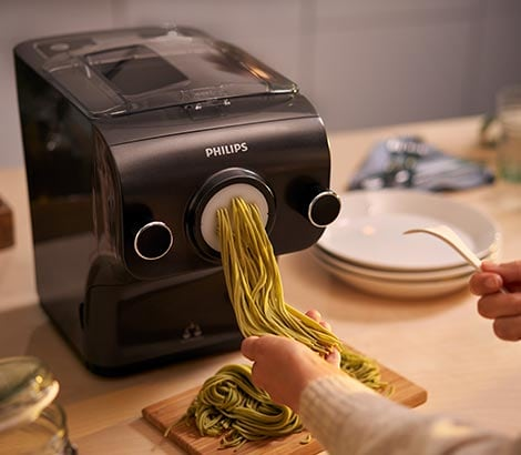 Pasta maker in use